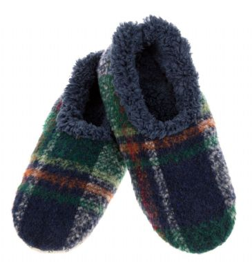 Mens Plaid Snoozies Slippers, Navy Soft Sole Sherpa Fleece ALMOST GONE